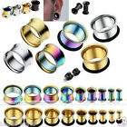 Pair Stainless Steel Hollow Flare Tunnels Ear Flesh Plugs Earlets Stretcher Punk