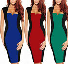 Red/Blue/Green Lady Sexy Sleeveless Optical Illusion Bodycon Party Pencil Dress