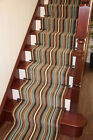New Lima Chocolate Brown Teal Blue Stripe Cut To Length Long Stair Carpet Runner