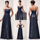 2014 NEW Hot Women Sexy Sequins Chiffon Formal Ballgown Evening Prom Party Dress