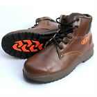 Mens KS Safety Work Boots Steel Toe Cap Zipper Size US6~US10.5 Brown color