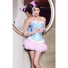 New Showgirl Styles Sexy Womens Corset Set Bustier Lingerie Bodysuit Pink