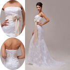 2015 Strapless Lace White Lady Noble Sexy Bride Bridal Wedding Dresses Size 6-20