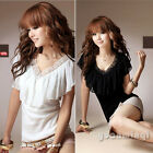 New Women Lady Fashion Sexy V Neck Ruffles Summer Casual Tee Blouse Top T-Shirt