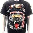 d11 Rock Chang 3D T-shirt Tattoo STUD Glow in Dark Tiger Cat Punk Biker Lover
