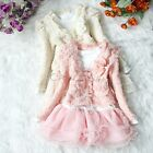 Girls Pearl Flower Outfit Cardigan Jacket Tutu Top Dress Skirt Party Gift 3T - 6