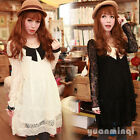 Women's Sweet Long Sleeve Round Collar Lace Sexy Mini Dress Solid Color S M New