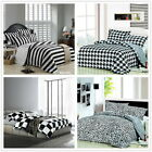 Black Striped Queen Size Bed Doona/Quilt/Duvet Cover Set New 100% Cotoon 3Pc/4Pc