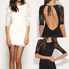 Sexy Womens Crew Neck 3/4 Sleeve Lace Open Back Bodycon Dress Slim Party Dress