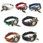 New Weave Wrap Retro PU Leather Bracelet Tree Leaf Decoration Quartz Wrist Watch