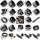 Punk Mens Cool Skull Cross Bullet Cowhide Leather Bracelet Bangle Finger Rings