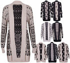 Womens Cross Star Skull Owl Printed Ladies Long Sleeve Open Knitted Cardigan Top