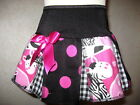 NEW Girls Black white pink zebra spot check Cheerleader Skirt hippy Gift Party