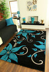 Large Black Teal Grey Floral Print Thick High Quality Modern Havana Rug For Sale