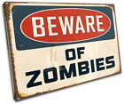 Poster Beware Zombies Humour SINGLE CANVAS WALL ART Picture Print VA
