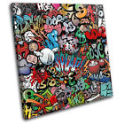 Funky Abstract Graffiti SINGLE CANVAS WALL ART Picture Print VA