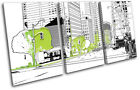 Urban Streets White/Green City TREBLE CANVAS WALL ART Picture Print VA