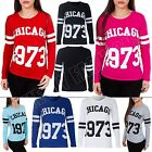 New Ladies Womens Varsity CHICAGO 1973 Print Amercian Baseball Top Size S M L