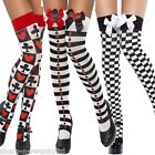 Ladies Black White Striped Cards Chequered Alice in Wonderland Stockings Socks