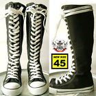 20 Hole Punk Rock Men Women Canvas Laceup Knee Hi Black White Sneaker Flat Boot