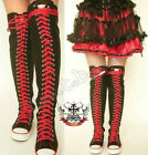 30 Hole Over Knee Thigh Hi Punk Rock Laceup Black Red Canvas Sneaker Flat Boot