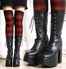 Goth Punk Larp Visual Kei Cosplay Vegan Leather Sharp Toe Chunky Platform Calf