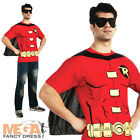 Robin Shirt & Cape Mens Superhero Batman Fancy Dress Costume Stag Outfit M,L,XL