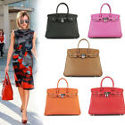 Womens Celebrity Designer Leather Satchels Metal Lock Tote Boston Purse Handbag