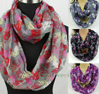 Stylish Skull Viscose Soft Infinity 2Loop Cowl Eternity Endless Casual Scarf New