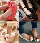 Womens Ladies Round Toe Bow Tie Platform Wedge Heel Ankle Strap Court Shoes 911