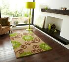 Large Cheap Green Beige Textured Hand Tufted Luxury Anti Static Floral Wool Rugs