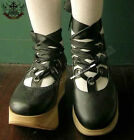 Punk Rock Gothic Lolita Faux Wood Platform Ballet Satin Ribbon Lace Corset Black
