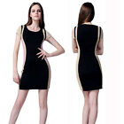 Womens Celebrity Colour Block Optical Illusion Contrast Bodycon Mini Party Dress