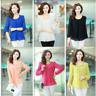 Womens Ladies Chiffon Long Sleeve Crew Neck Loose Pleated T-Shirt Blouse Tops