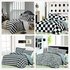 Black White World Queen Size Bed Quilt/Doona/Duvet Cover Set New Cotton 3Pc/4Pc
