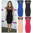 Womens Celeb JLO Contrast Collar Mesh Insert Bodycon Scuba Mini Party Dress 8-14