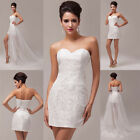 2014 Luxury Lace Organza Bride Bridal Wedding Strapless Ball Evening Prom Dress