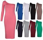 Womens New One Shoulder Long Sleeve Ladies Stretch Bodycon Fit Jersey Midi Dress