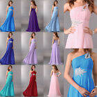 One shoulder Chiffon Bridesmaid Prom Ball Gown Evening Cocktail Party Long Dress