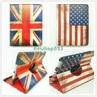 Retro Flag 360º Rotating Swivel Cover Folio Smart Stand Case For iPad/Air/Mini
