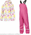 Trespass Kids Girls Waterproof Suit - Jacket & Dungarees Trousers Toddlers Pink