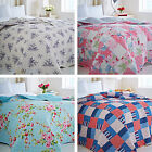 Catherine Lansfield Pink Blue 240 x 260cm Quilted Bedspread Blanket Bed Throw