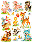 Внешний вид - Vintage Image Shabby Nursery Baby Animal Assortment Waterslide Decals AN678
