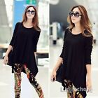New Women Long Sleeve Slouchy Hippie Cotton Loose Casual T-Shirt Tops Tee Black