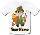 FISHING PERSONALISED KID'S SUBLIMATION T-SHIRT - GREAT BOY'S GIFT & NAMED TOO !