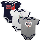 Infant Cleveland Indians Creeper Set 3-piece Bases Loaded Baby Baseball Bodysuit
