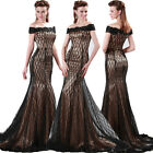Sexy Off Shoulder Black Lace Mermaid Formal Evening Wedding Party Bridal Dresses