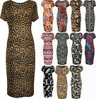 New Womens Plus Size Print Short Sleeve Scoop Stretch Ladies Midi Dress 14 - 28