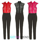 Women's Lace Top Jumpsuit Ladies See Through Collared Pocket Long Jumpsuit New