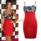 Womens Celeb Style Red Black Lace Party Evening Cocktail Bandage Bodycon Dress F